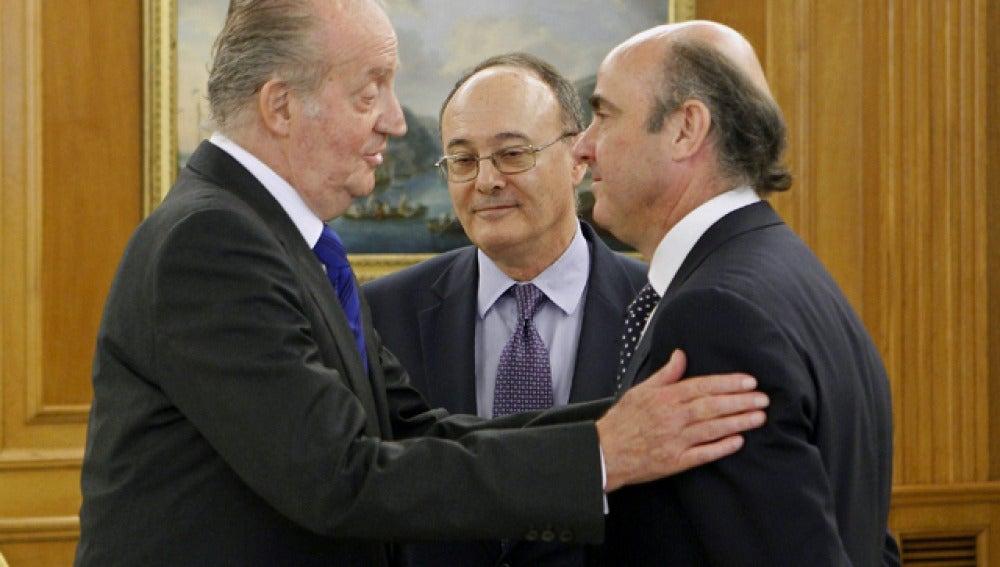 Luis de Guindos con el Rey
