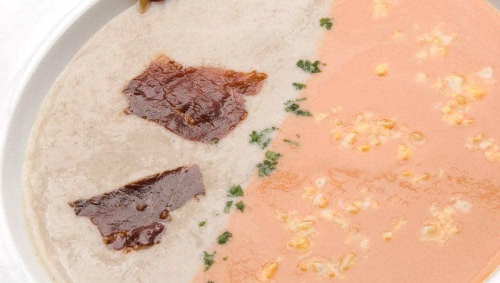 Crema fría de tomate y champiñones
