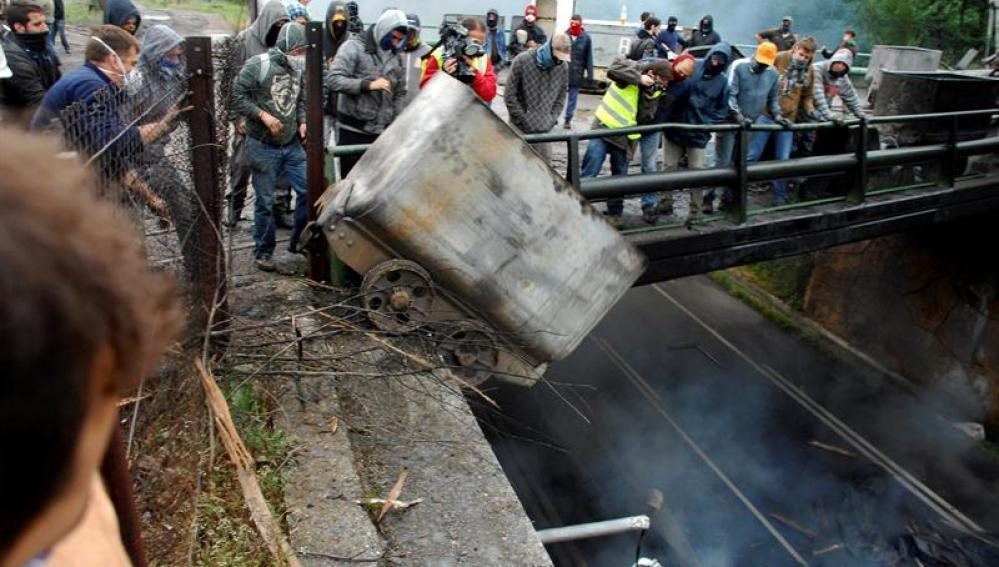 Protestas mineras en Pola de Laviana (Asturias)