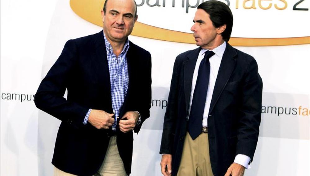 De Guindos en el Campus FAES con Aznar