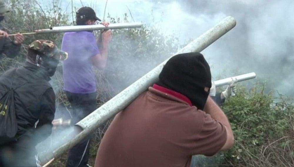 Barricadas en la jornada de huelga de Asturias