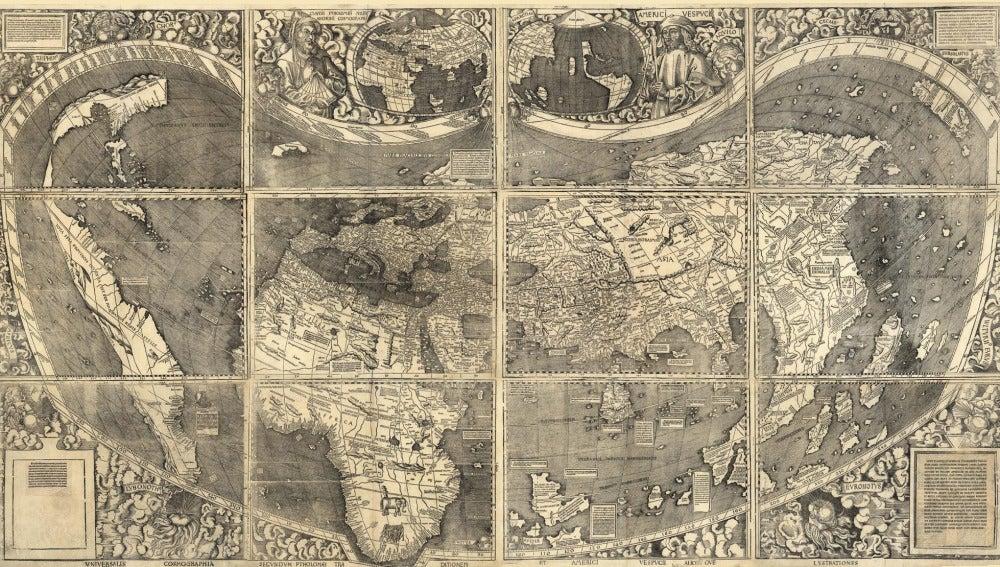 Ejemplar del llamado mapamundi de Waldseemüller