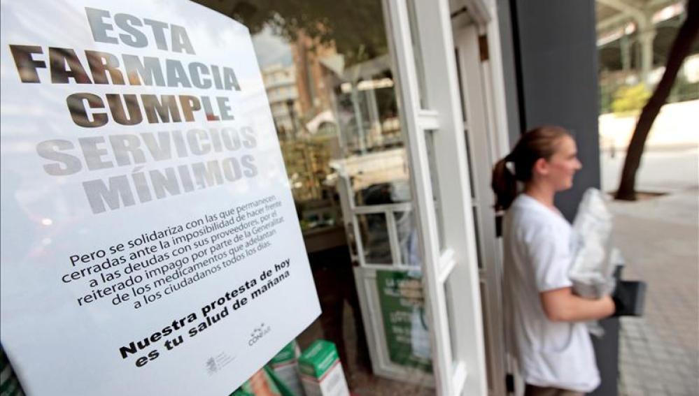 Las farmacias valencianas inician una huelga indefinida