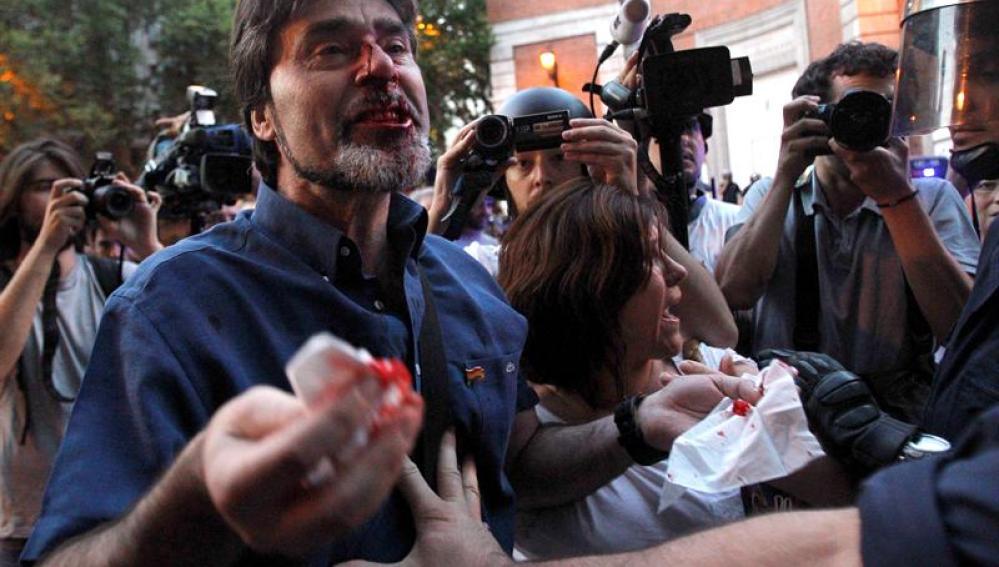 Un manifestante herido en Madrid