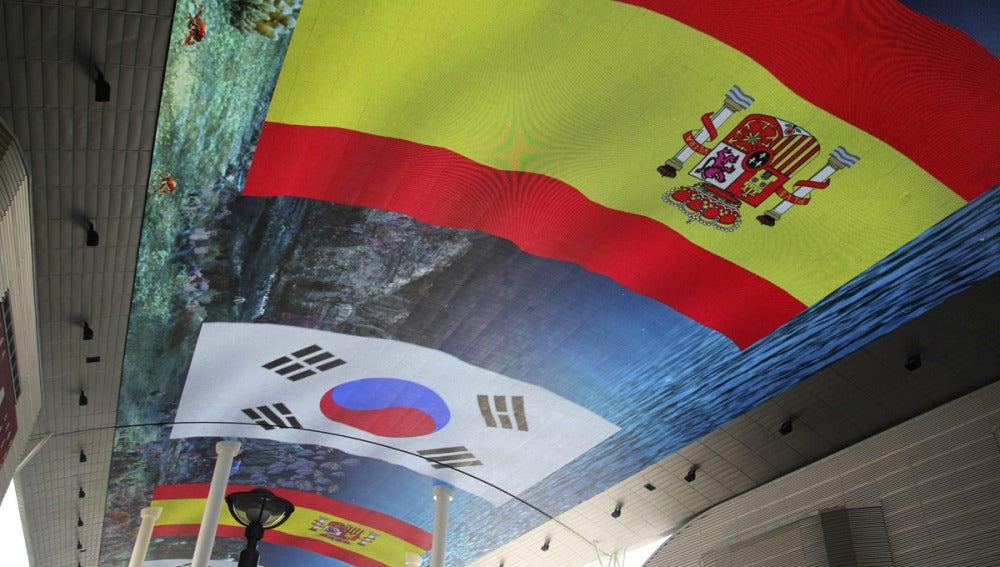 Detalle del pabellón español en la Expo de Yeosu 2012 (Corea)