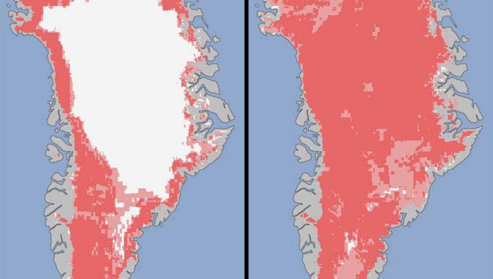 Comparativa de Groenlandia antes y después del deshielo