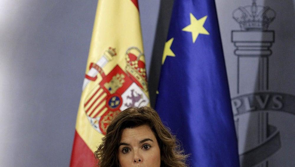Soraya Sáez de Santamaría, en rueda de prensa