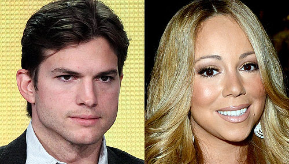 El actor Ashton Kutcher y la actriz Mariah Carey