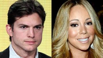 El actor Ashton Kutcher y la actriz Mariah Carey