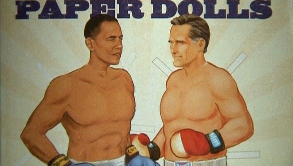 El duelo Obama-Romney, en recortables