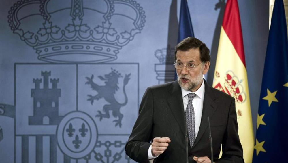 Rajoy en la rueda de prensa ofrecida con Hollande