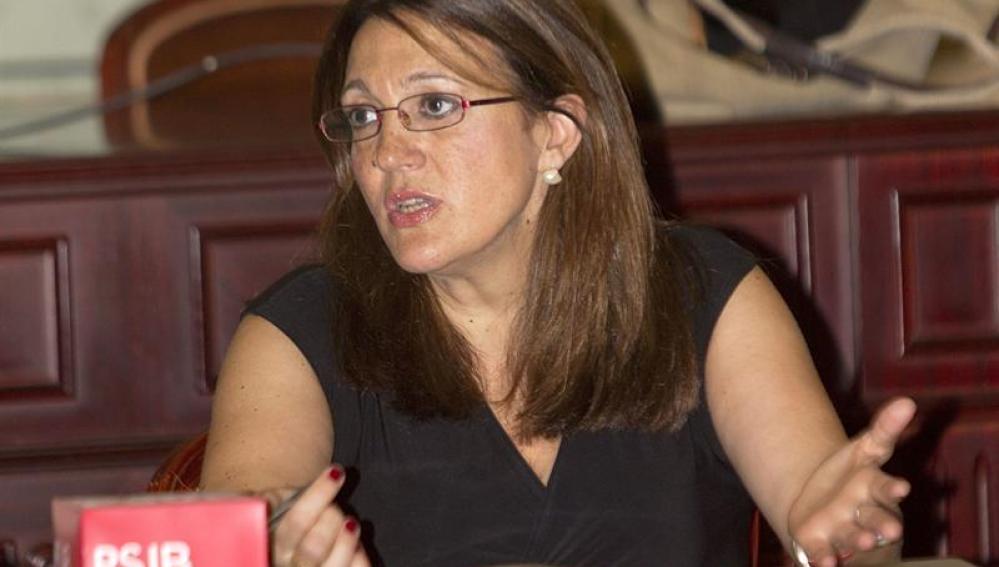 Soraya Rodríguez en la reunión del grupo parlamentario de socialistas baleares