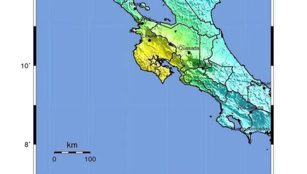 Zona afectada por el terremoto de Costa Rica