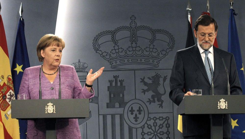 Mariano Rajoy con la Canciller alemana Angela Merkel