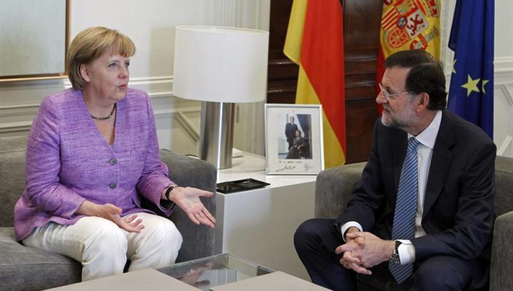 Angela Merkel, durante su reunión con Mariano Rajoy en La Moncloa