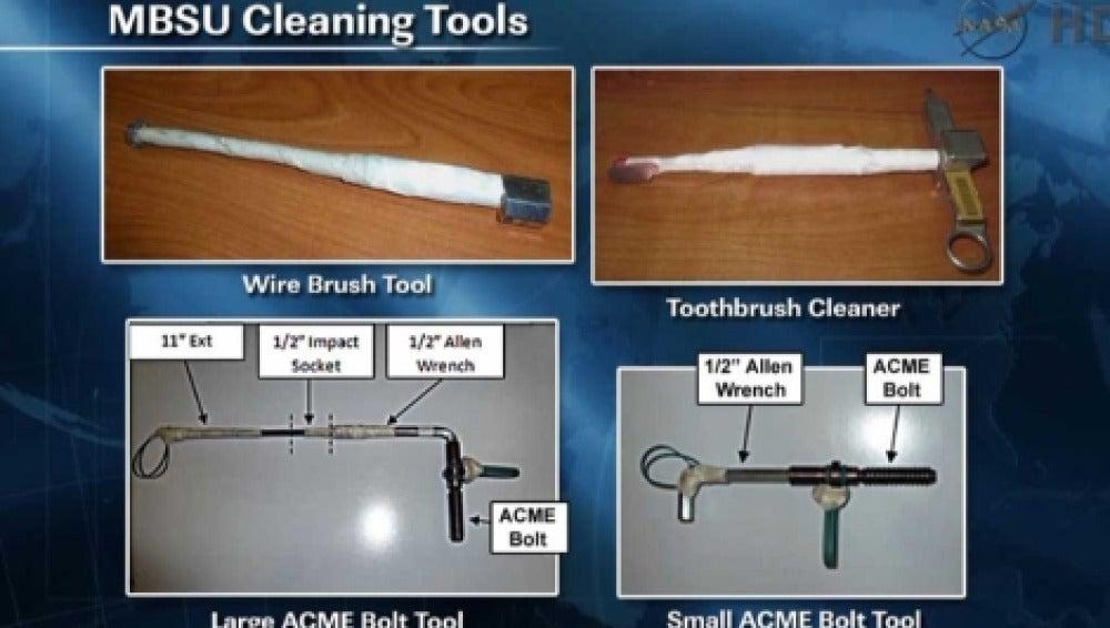 Herramientas utilizadas por los astronautas para arreglar la avería