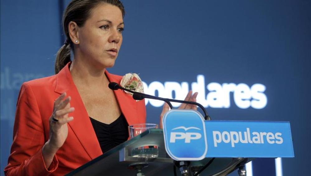 María Dolores de Cospedal tras la reunión semanal de la dirección del PP