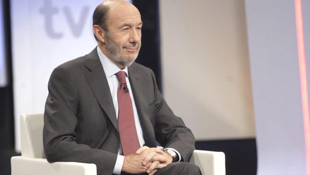 Alfredo Pérez Rubalcaba, durante la entrevista