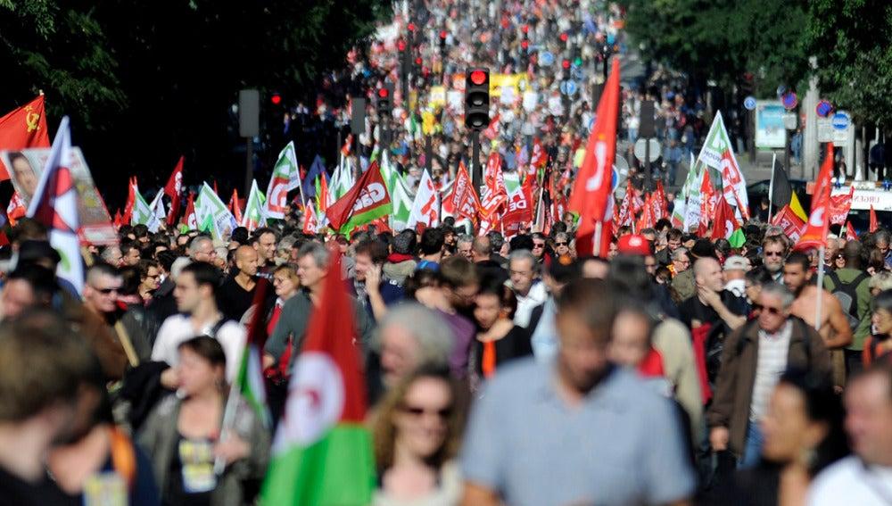 Manifestantes en una calle de París