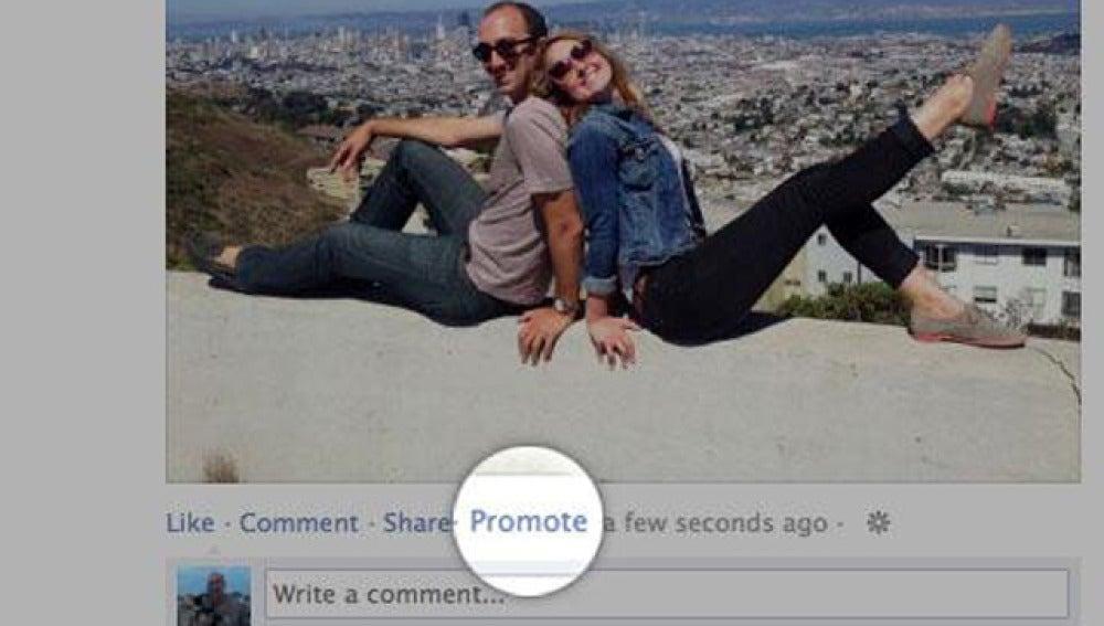 Ejemplo del botón 'Promote'