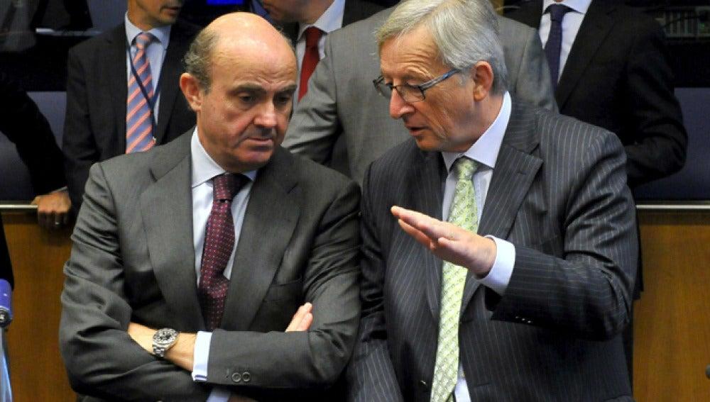 Luis de Guindos con el presidente del Eurogrupo