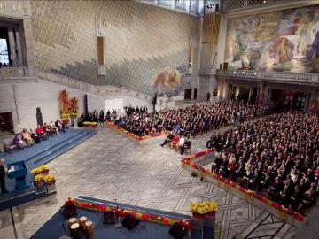 Vista general de la ceremonia de entrega de los premios Nobel de la Paz 2011