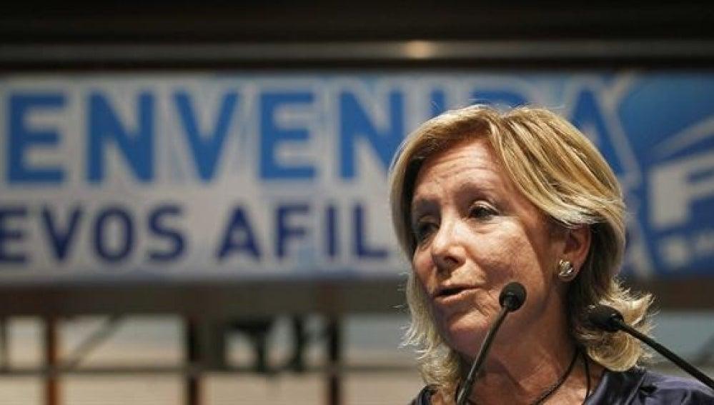 Aguirre en un acto en Villaviciosa de Odón, Madrid