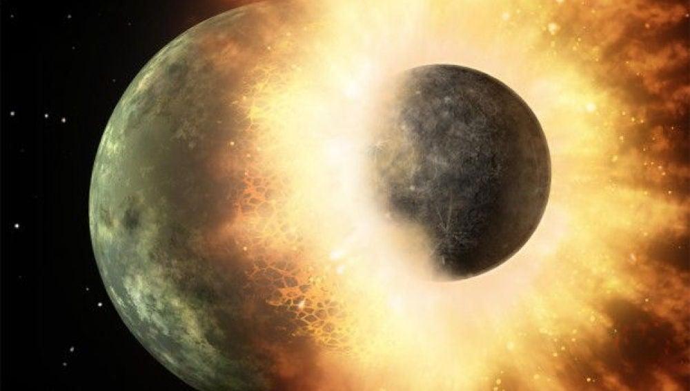 Reacreación del choque que creó la Luna