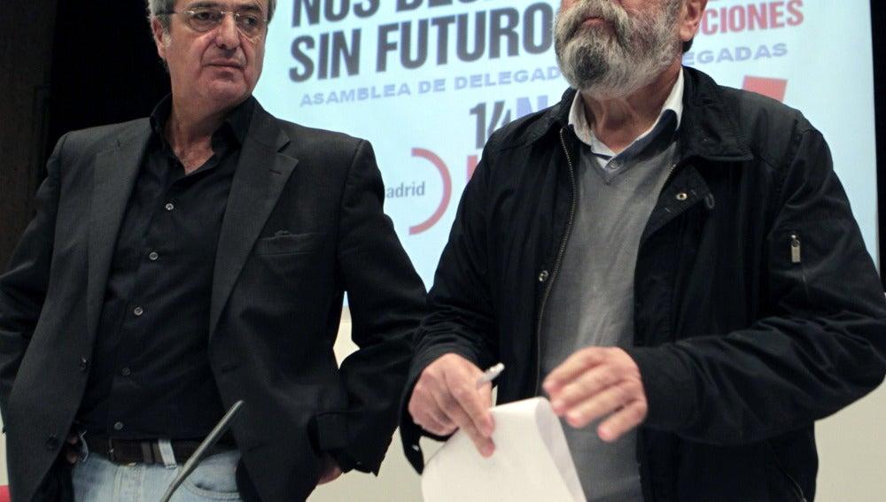 Cándido Méndez y José Ricardo Martínez en la Asamblea de Delegados de la Comunidad de Madrid