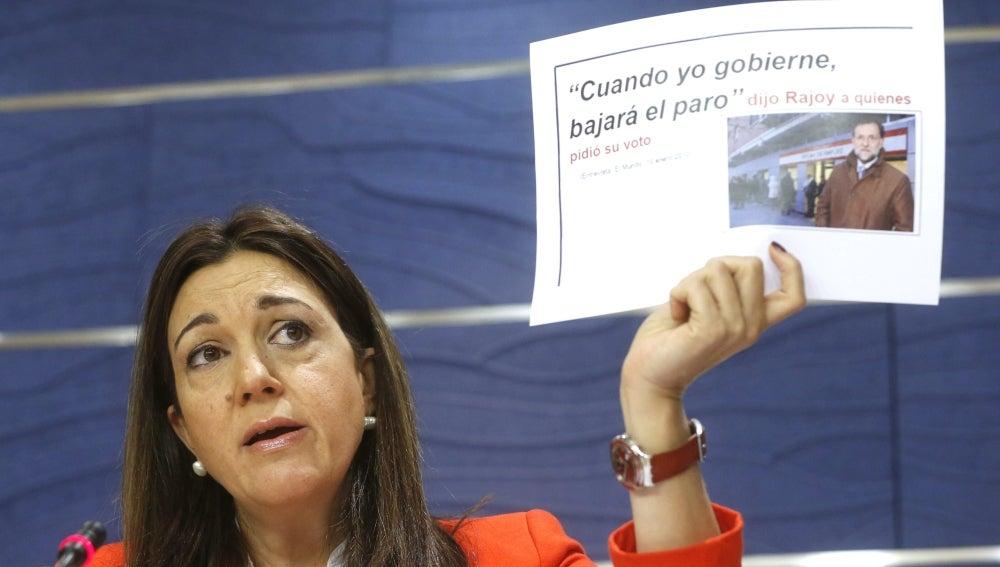 Soraya Rodríguez durante la rueda de prensa tras conocer los resultados de la Encuesta de Población Activa