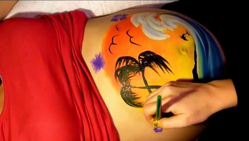 'Belly painting': cuando el embarazo es una obra de arte
