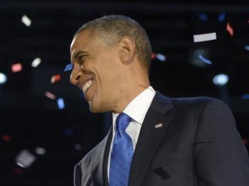 Barack Obama tras pronunciar el discurso de la victoria