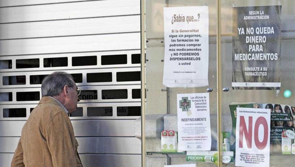 Farmacia cerrada en seguimiento de la huelga indefinida