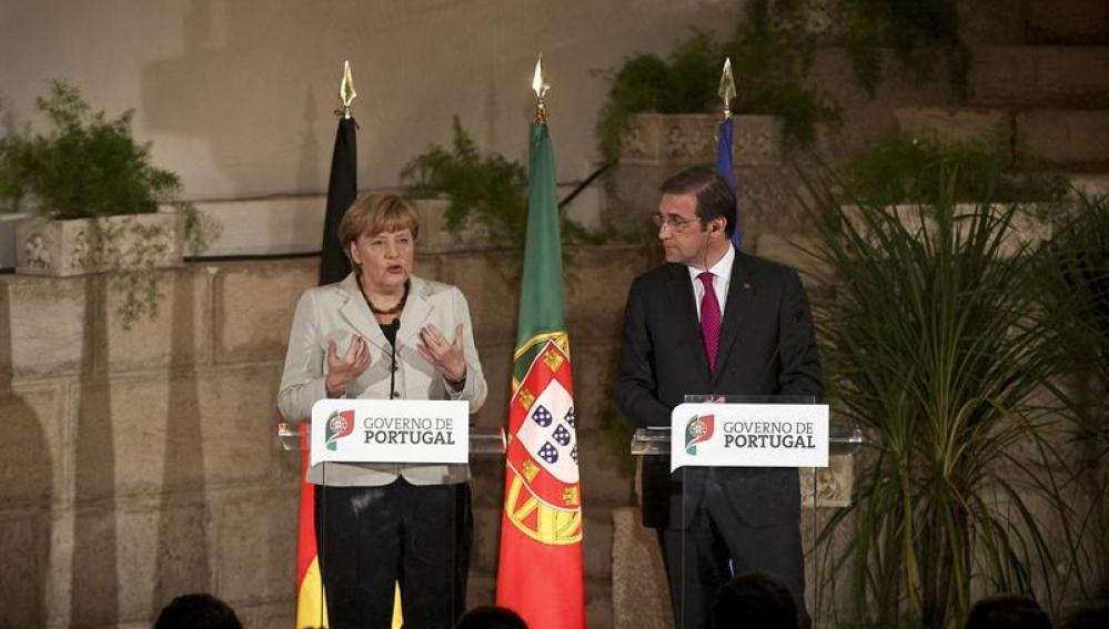 La canciller alemana, Angela Merkel, y el primer ministro de Portugal, Pedro Passos Coelho