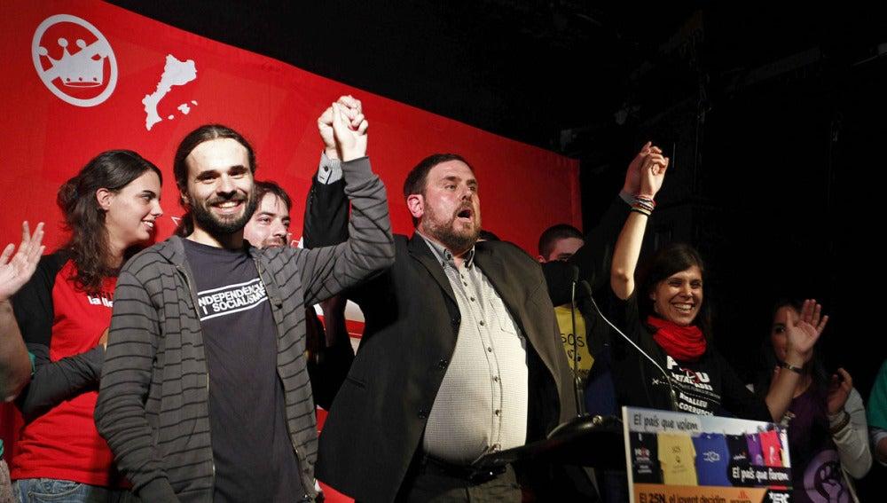 Oriol Junqueras, candidato de ERC, en un acto en la discoteca Razzmataz