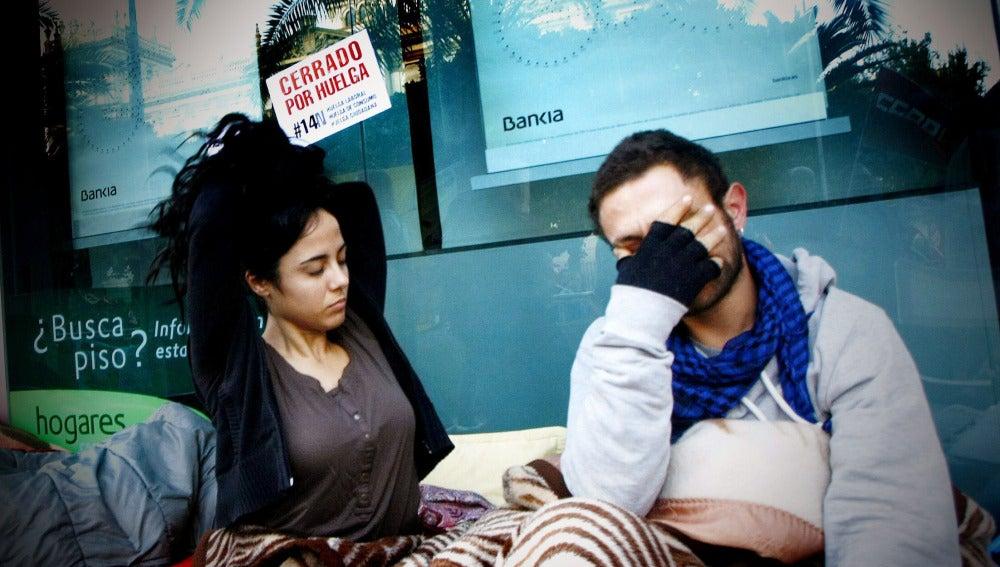 Protestas frente a un sucursal de Bankia
