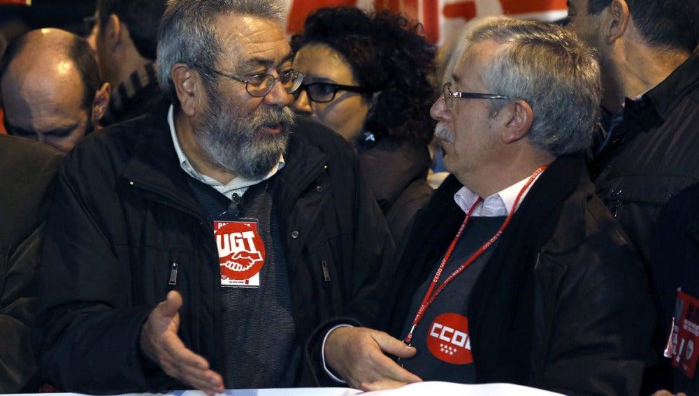 Méndez y Toxo encabezan la manifestación en Madrid