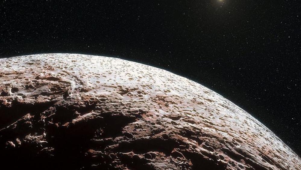 Imagen facilitada por el Observatorio Europeo Austral (ESO) de la impresión artística de la superficie del planeta enano Makemake