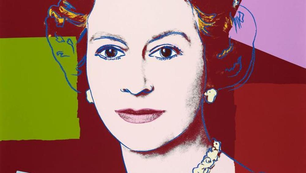 Lámina de Andy Warhol, parte de una selección de retratos oficiales de la reina Isabel II