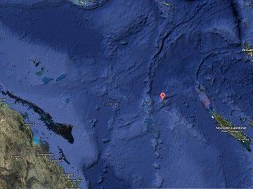 Sandy estaría situada donde marca el símbolo de Google, entre Australia y Nueva Caledonia