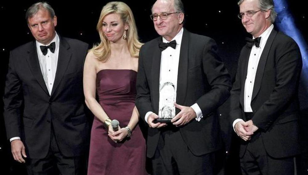 El presidente de Repsol, Antonio Brufau, tras recibir un premio al liderazgo