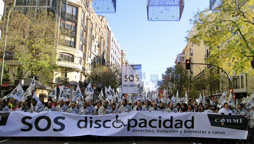 Manifestación en Madrid por los derechos de los discapacitados.