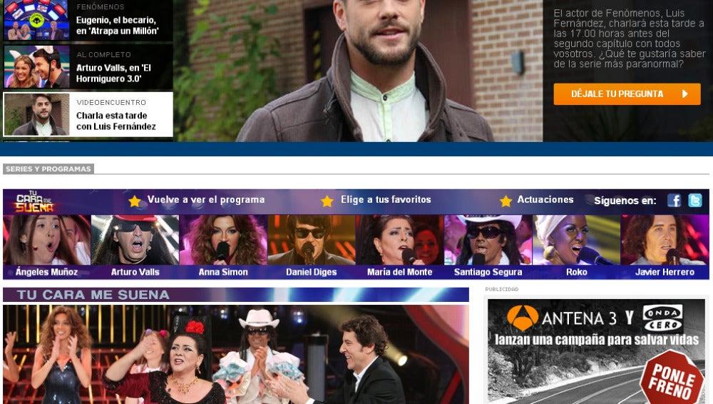 Portada de antena3.com