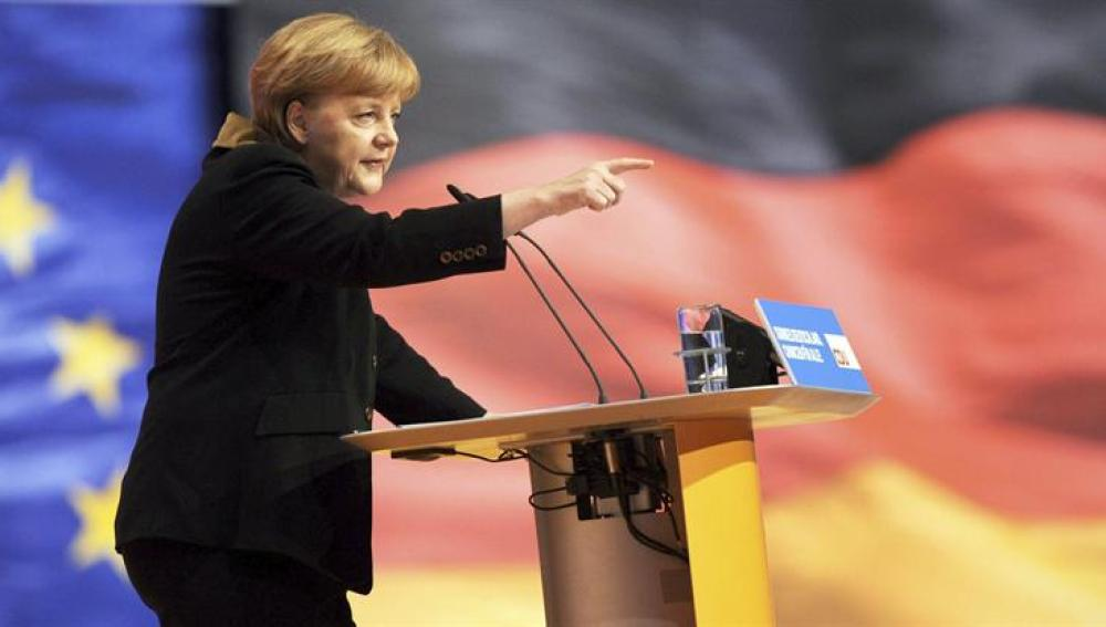 La canciller alemana, Angela Merkel, da un discurso durante el congreso del partido CDU