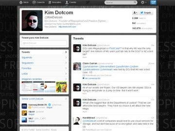 Cuenta de Twitter de Kim Dotcom, el fundador de Megaupload y Mega