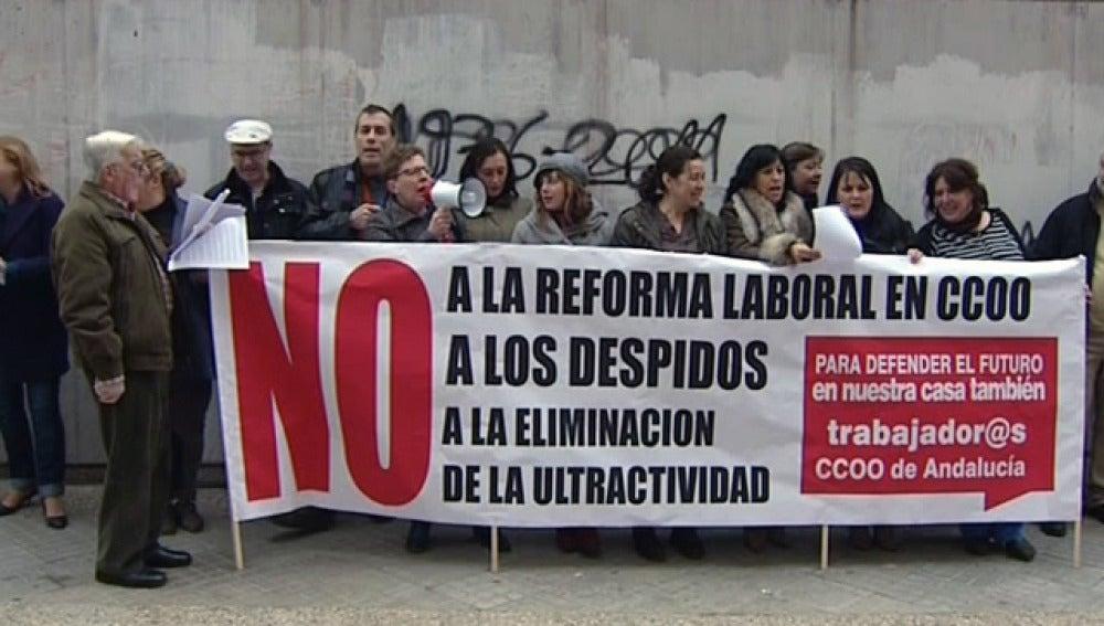 Protesta por el ERE de CCOO