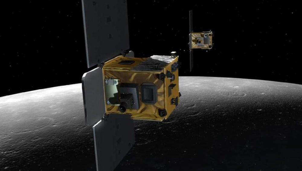 Representación de las dos naves que estudiaron la Luna