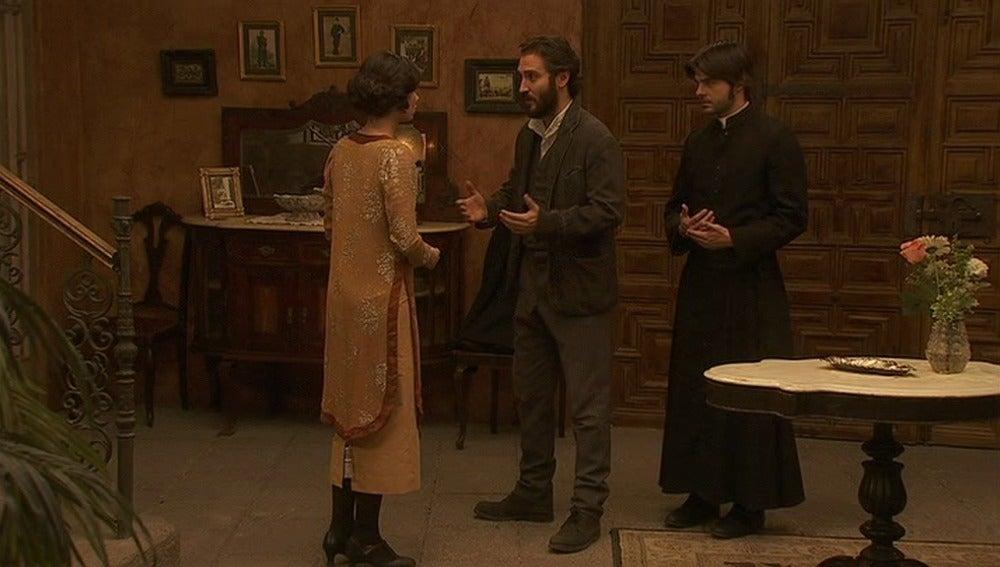 Tristán y Gonzalo anuncian a María la muerte de Lázaro