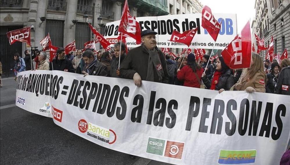 Manifestación contra los recortes en los bancos
