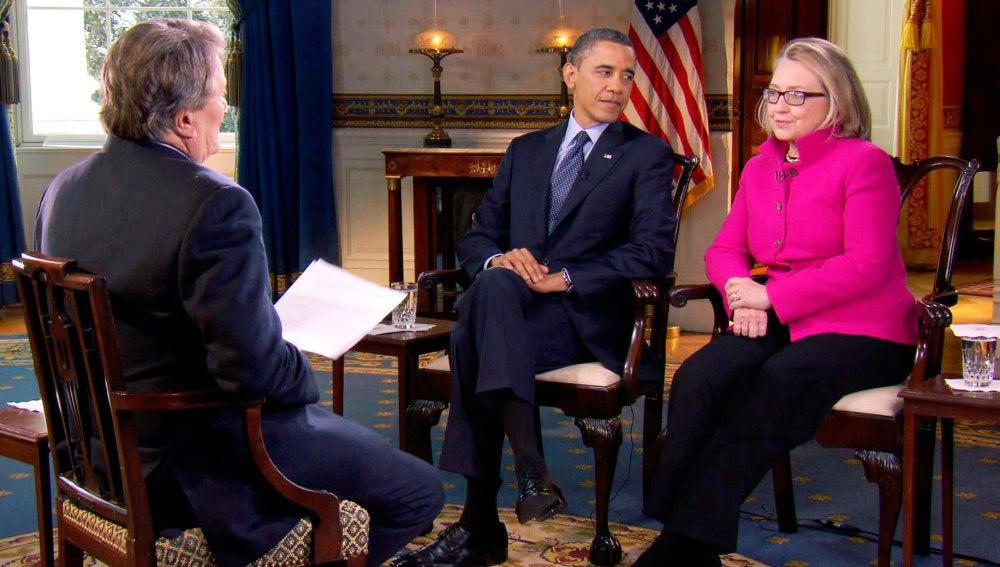 Barack Obama y HIllary Clinton en la CBS